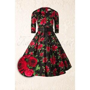 Bunny Eternity 50s Black Swing Dress Red Roses