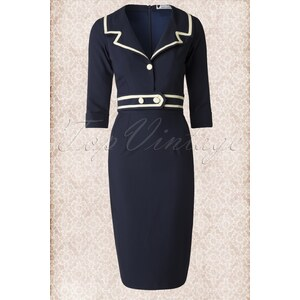 Daisy Dapper TopVintage exclusive ~ 50s Emma Pencil Dress in Navy