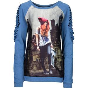 RAINBOW Sweat-shirt avec découpes bleu femme - bonprix