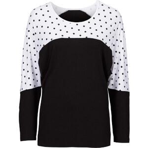 BODYFLIRT Shirt mit Punkten langarm in schwarz für Damen von bonprix
