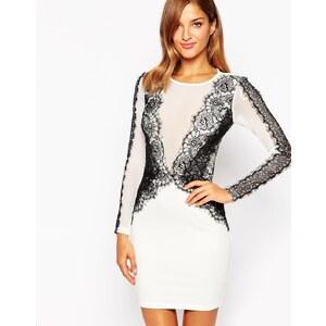AX Paris - Figurbetontes Kleid mit Netzstoffeinsatz und Besatz aus Eyelash-Spitze - Cremeweiß