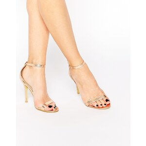 Glamorous - Sandales vernies en deux parties à talons - Doré - Doré