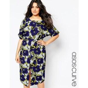 ASOS CURVE - Wiggle - Kleid mit Schlitz vorne und Blumenprint - Druck