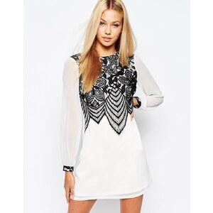Lipsy - Ausgestelltes Kleid mit Spitze vorne - Weiß