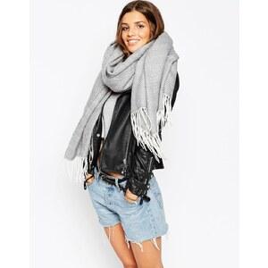ASOS - Oversized-Schal mit Fischgrätmuster und Fransen - Grau