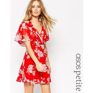 ASOS PETITE - Robe kimono virevoltante avec imprimé à fleurs - Rouge - Multi