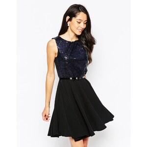 Closet - Ausgestelltes Kleid mit paillettenverziertem Oberteil - Schwarz