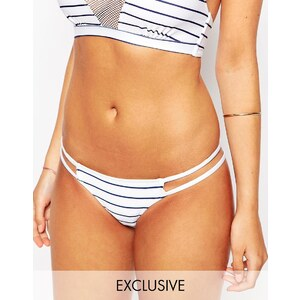 Wolf & Whistle - Bas de bikini taille basse à découpe sur le côté - Blanc