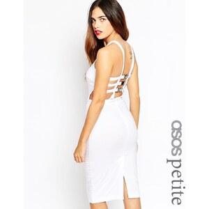 Exclusivité ASOS PETITE - Robe moulante avec lanières à boucles sexy au dos - Blanc