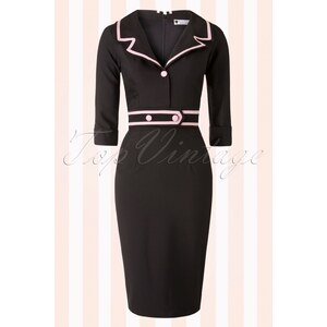 Daisy Dapper TopVintage exclusive ~ 50s Emma Pencil Dress in Black and Pink