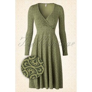 Blutsgeschwister 60s Schalala Tralala Robe Around The Clock Dress in Green