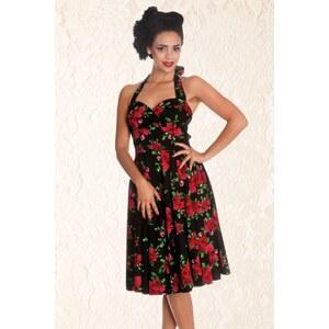 Bunny 50s Retro Halter Cannes Roses Dress in Black