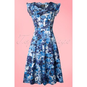 Hearts & Roses 50s Blue Floral dress