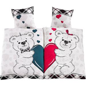 bpc living Partner-Bettwäsche Teddy, 4-tlg., 2x 80/80 cm + 2x 135/200 cm, Renforcee in pink von bonprix