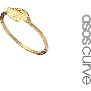 ASOS CURVE Gold Plated Sterling Silver Leaf Ring