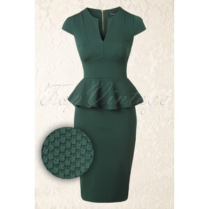 Vintage Chic 50s Carese Peplum Dress in Green