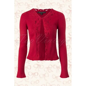 King Louie 40s Brocade Cardigan in Cranberry Red Wool