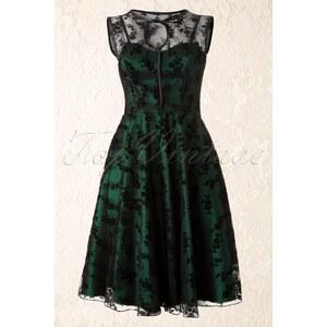 Vixen 30s Classy Black Lace Satin Green Dress