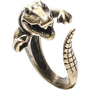 Dotoly Bijoux Bague 3D Crocodile Dragon Bronze