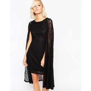 Lavish Alice - Kurzes Cape-Kleid aus Spitze - Schwarz