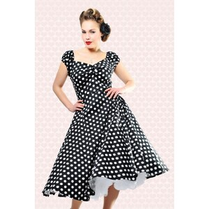Collectif Clothing 50s Dolores Doll dress Black White polka swing dress