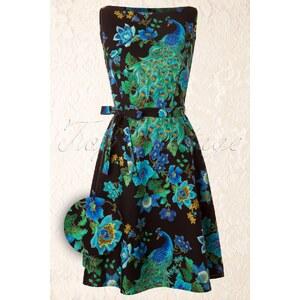 Heart of Haute 60s Monique Royal Peacock Dress Black