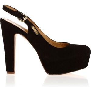 Pepe Jeans Footwear London - Chaussures à talon - en cuir suédé noir