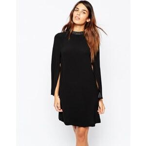 Warehouse - Premium - Kleid mit Verzierungen und Flügelärmeln - Schwarz