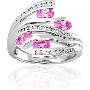 Cleor Bague en argent avec zircon - rose