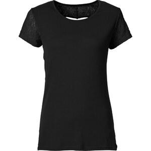 RAINBOW Shirt mit Spitze und Herzausschnitt kurzer Arm in schwarz für Damen von bonprix