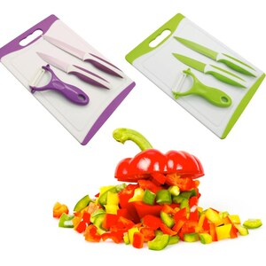 Lesara 2-teiliges Messer-Set mit Schneidebrett und Schäler - Violett