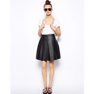 French Connection Roller Ball Skirt in Pleated PU