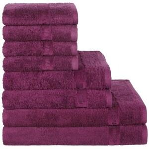 Handtuch Set mit moderner Bordüre Tom Tailor lila 8tlg.-Set (siehe Artikeltext)
