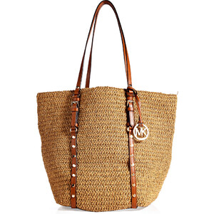 Michael Michael Kors Straw/Studded Leather Large Shopper Tote