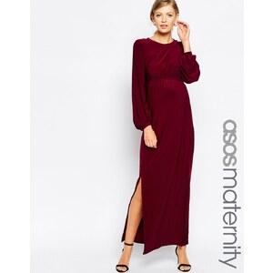 ASOS Maternity - Maxi robe drapée à manches blousantes - Rouge