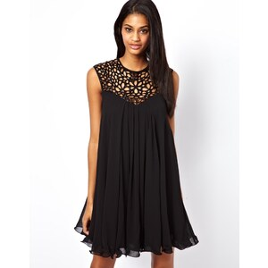 Lipsy VIP Trapeze Swing Dress with Cage Neck