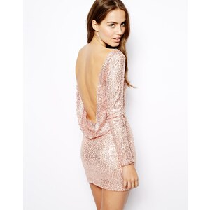 Club L Sequin Dress with Drape Back