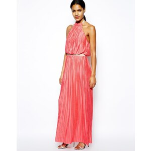 Love Moschino Pleated Maxi Dress with Halter Neck