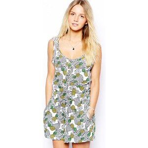 Brave Soul Pineapple Print Playsuit