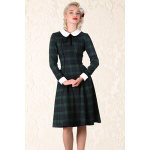 Collectif Clothing 40s Lisa Retro Blackwatch Check Swing Dress