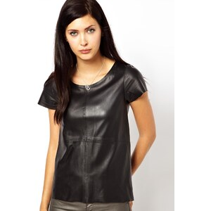 MuuBaa Nemida Leather T Shirt in Black