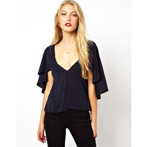 ASOS Top in Crepe with Frill Cape Sleeve