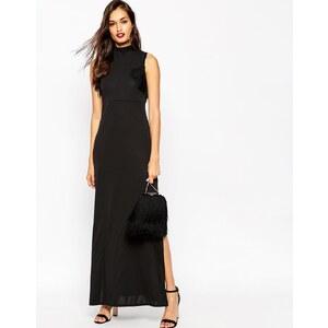 ASOS - Maxi robe en crêpe avec franges - Noir