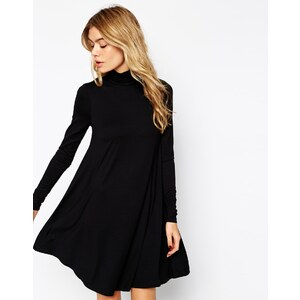 ASOS - Swing-Kleid mit langen Ärmeln und Polokragen - Schwarz
