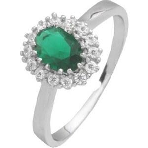 firetti Ring ´´Smaragd-Optik´´ mit Glassteinen und Zirkonia