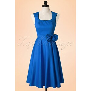 Dolly and Dotty 50s Harriet Bow Dress in Blue and Black