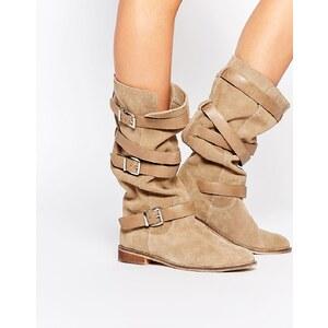 ASOS - CANDID - Kniehohe Stiefel aus Wildleder - Beige