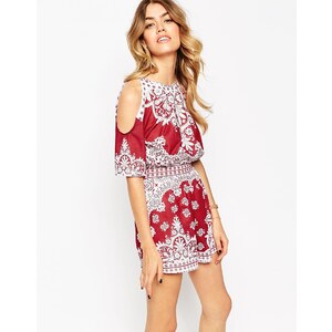 ASOS Cold Shoulder Playsuit in Placed Mosaic Print - Multi