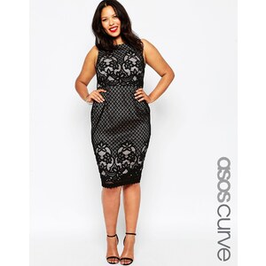 ASOS CURVE - Figurbetontes Kleid mit Spitze - Schwarz