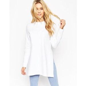 ASOS - Lang geschnittenes Sweatshirt mit seitlichen Schlitzen - Weiß